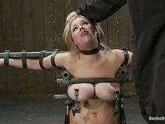Big titted bitch bound on a sybian and made to cum over and over, ...