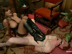 Strict eastern European dominatrix puts slaveboy through the ringer...