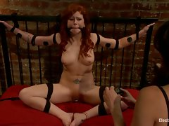 Tied to my bed, I take advantage of Brooklyn Lee! Her fiery hair...