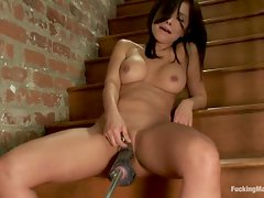 Latina babe pounded by machines with cocks that just barely fit in...