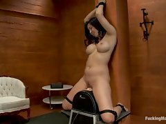 Isis Love tied up to the Sybian, nipples sucked tight, her cum...