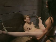 Tiny Sensi Pearl is bound for a fucking.  Her legs are almost put in...