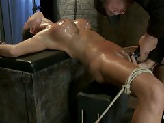 Sexy booming big titted blond is brutally bound & oiled, pulled in 2...