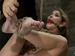 MILF with huge tits is bound in traditional Japanese torture tie,...