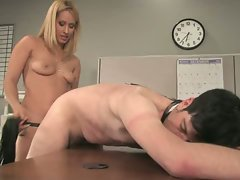 Pushy boss gets fucked by his secretary...