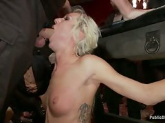 Petite, blonde, 22 yr old is bound, blindfolded, zapped, made to suck...