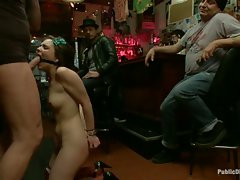 New girl tied up and humiliated in public, made to squeal like a pig...