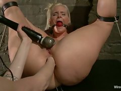 Beautiful blonde with a luscious bubble butt gets tied up, shocked,...