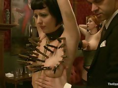 3 slaves get tied and whipped...