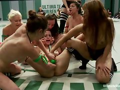After a brutal tag team, a 7 girl orgy ensues. Fisting, humiliation,...