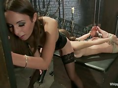 Slavegirl is made to sit on the most powerful vibrator in the world,...