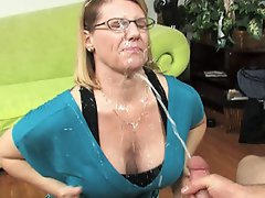 MOm gets a messy cumshot to the face....