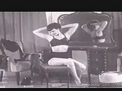 A classic black and white film about a girl doing a reverse...