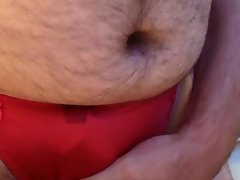 Using vibrating bullets and cumming inside red tight panties