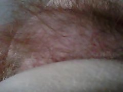 close up shot of my girls chubby hairy pussy mound.