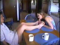stacy licks mature feet at kitchen