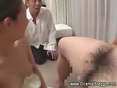 Asian pregnant is a caring wife