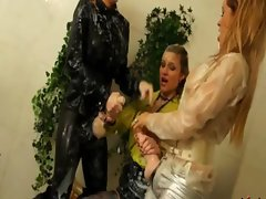 Rough babes fighting during hot bukkake