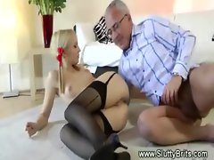 Blonde babe sucks old cock for lucky guy and loves it