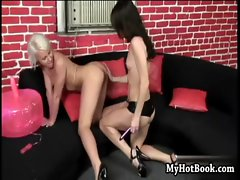 Blonde and brunette lesbian pair Angel Couture and