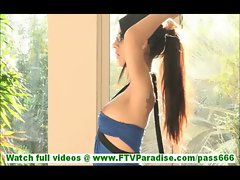 Lilly incredible amateur brunette with long hair posing and trying on glasses while casting