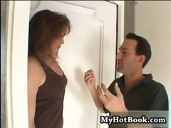 Brunette MILF Delarossa has her neighbor on his ha