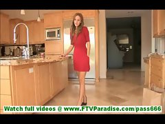 Summer mesmerizing hot blonde toying pussy with pink dildo in kitchen