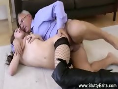 Hot brunette gets a hot fucking from an old guy