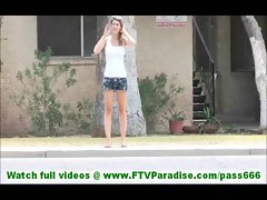 Karina skinny young blonde undressing and posing naked and toying pussy and naked in public