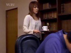 Asian slut gives BJ at the office