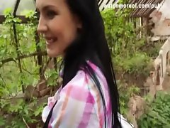 A gorgeous brunette Czech teen gets fucked in a garden