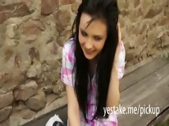 Shy brunette flashes tits and is banged after the castletour