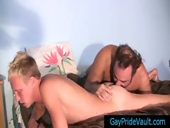 Blond is getting his ass rimmed by bear gay sex