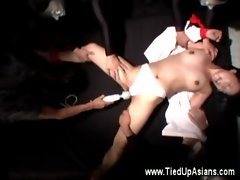 Asian in masters web with vibrator action