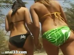 Extreme bum threesome in a forest