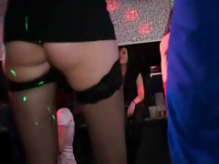 Hot babes fucked in dance club with other babes sucking cock
