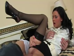 Stockings clothed euro glamorous bitch