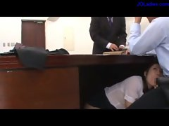 Office Lady Sucking Guy On The Couch And Under The Desk In The Office