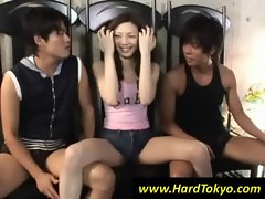 Asian cutie play with two guys