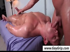 Gay gets oiled butt fucked