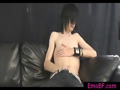 Skinny gay emo jerking his cock gay video
