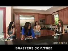 Three Hot &amp_ Mean lesbians fuck their neighbor with a strap-on