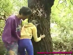 pervert catches a hot german teen as she pisses in the woods