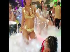 European pornstars at a foam party