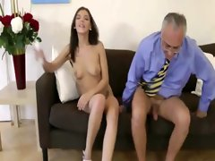 Brunette gets her pussy and ass fucked by older guy
