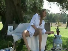 Horny Blond babe loves playing