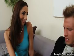 Angelica sucks and fucks her neighbors huge cock