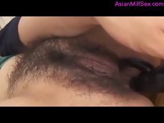 Milf With Hairy Pussy Rimming Giving Blowjob For Guy  While Vibrator Is In Her Asshole Cum To Mouth