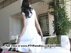Awesome girl Sophie brunette girl toying and masturbating in the bedroom