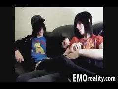 Shy emo teen kissing his friends dick over his underwear